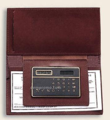 Full Grain Leather Checkbook Holder W/ Calculator