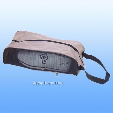 Khaki Shoe Bag W/ Zippered Back Pocket