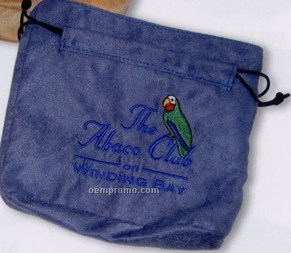 Micro Suede Valuables Pouch W/ Embroidered Logo
