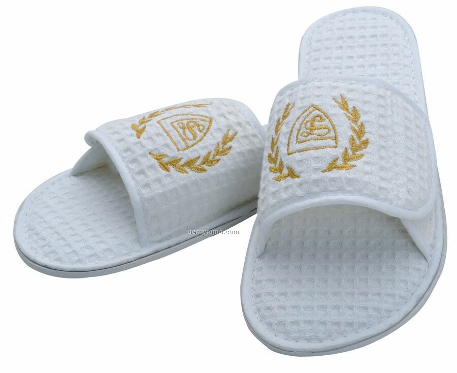 Waffle Weave Spa Slippers - Embroidered