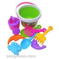 Beach Bucket Set W/Rake & Shovel