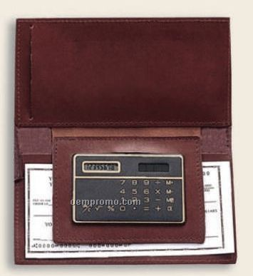 Bonded Leather Checkbook Holder W/ Calculator