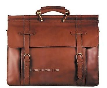 Brown Hand Stained Calf Leather Workbag
