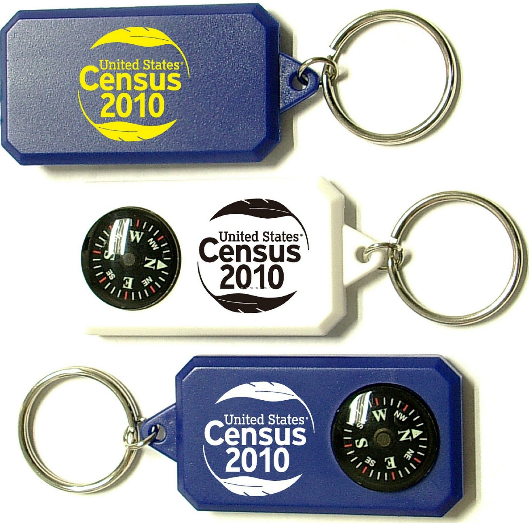 Compass Key Tag With Large Imprint Area On Both Sides