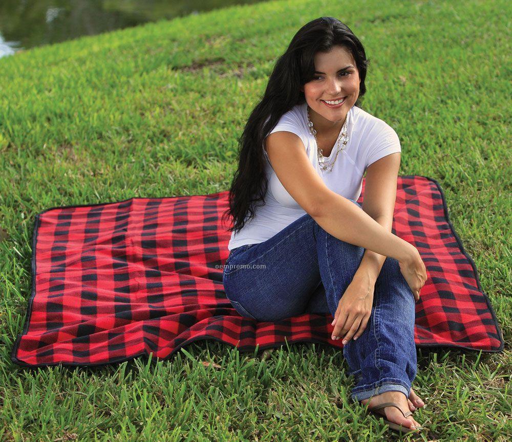 Fleece / Nylon Picnic Blanket - Embroidered