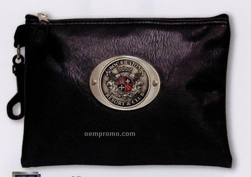 Leatherette Zippered Valuables Pouch