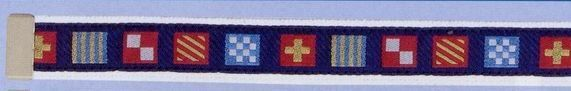 Embroidered Pattern Belt With Leather Tip (Code Flag On Navy Background)