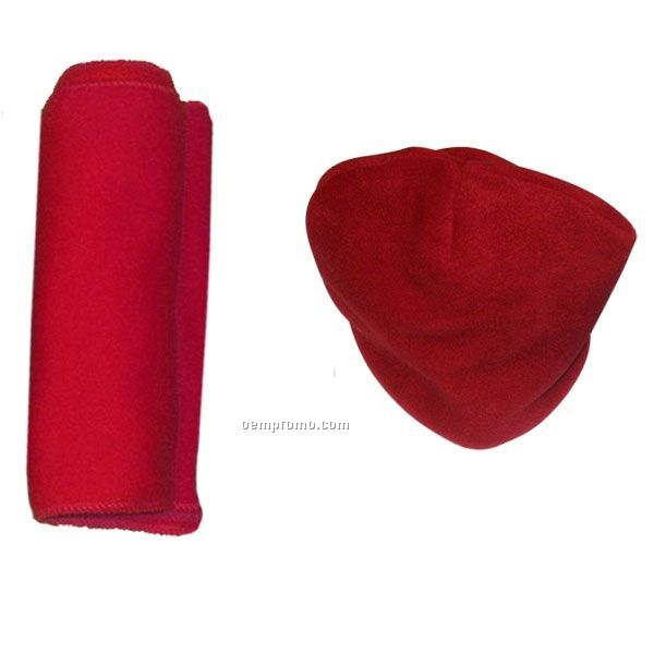 14 Oz. Eco Friendly Wicking Fleece Scarf And Hat Combo