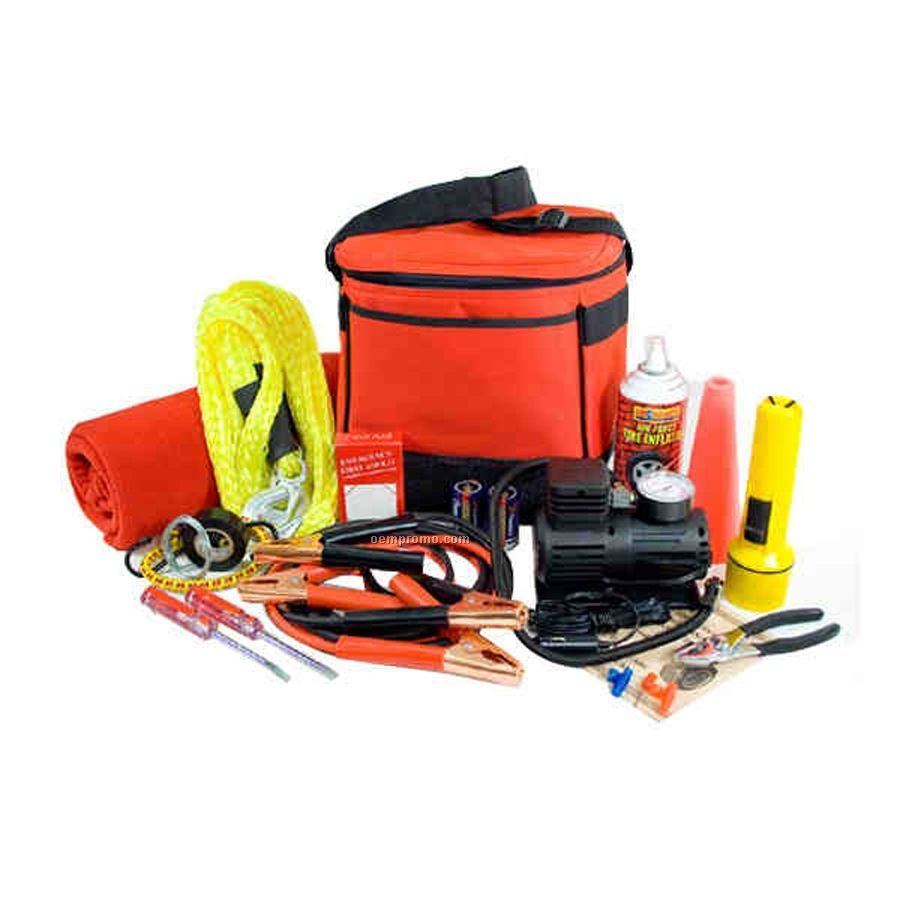 Auto Emergency Kit W/ Jumper Cables & Tire Inflator