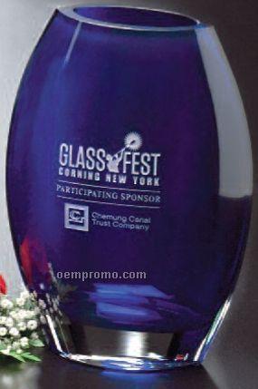 """Cobalt Crystal Oval Vase Award (8 1/2"""")"""