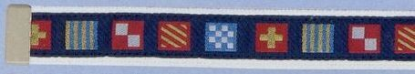 Embroidered Web Belt W/ Brass Or Silver Tip (Code Flag On Navy Background)