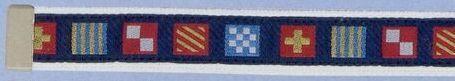 Embroidered Belt W/Adjustable Leather Tip (Code Flag On Navy Background)