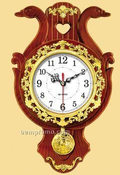Double Swan +heart Wall Clock