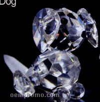 Optic Crystal Dog Figurine On Skateboard
