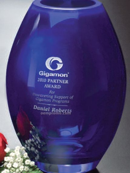 "Cobalt Crystal Barrel Vase Award (8 1/2"")"