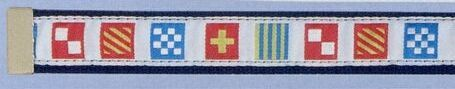 Embroidered Web Belt W/ Brass Or Silver Tip (Code Flag On White Background)