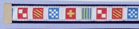 Embroidered Pattern Belt With Leather Tip (Code Flag On White Background)