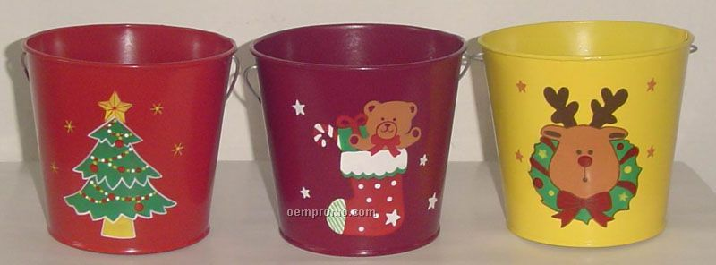 Christmas iron buckets china wholesale christmas iron buckets for Christmas tin pails