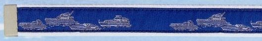 Embroidered Pattern Belt With Leather Tip (Power Boats)