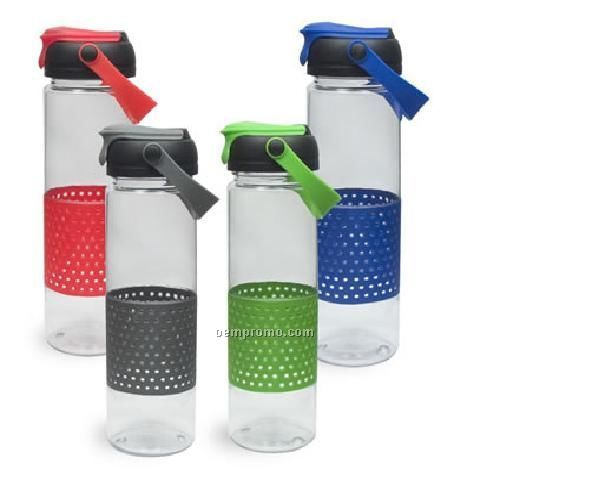 24 Oz. Lexan Bottle With Perforated Grip And Flip Top Lid And Handle