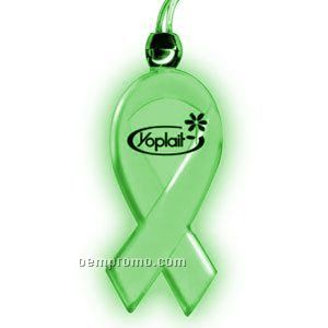 Blinking Light Up Awareness Ribbon Necklace W/ Green LED