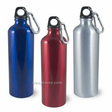 25 Oz. Trek Aluminum Bottle With Silver Carabineer