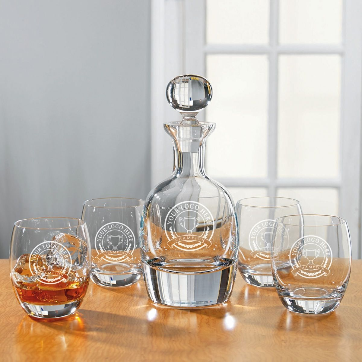 Set of 5 Bezrat Decanter and Glasses Whiskey Set-Bar Glassware Set Gifted Boxed Set Includes a Decanter with stopper and Crystal DOF Glasses FREE GIFT .