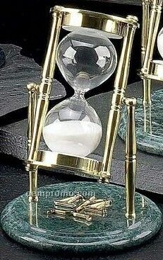 Legal Brass & Green Marble 30 Minutes Sand Timer