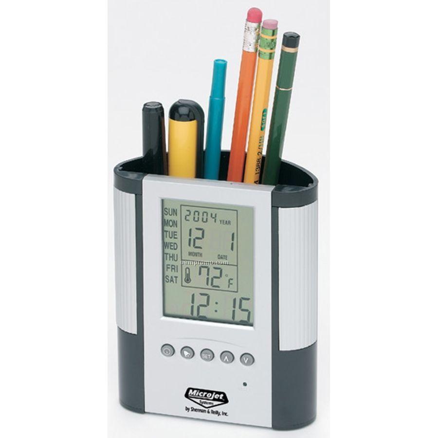 Premium Pen Holder With Clock
