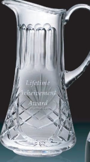 32 Oz. Lead Crystal Wide Mouth Barware Pitcher W/ Handle