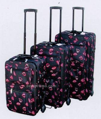 Fashion Luggage 3 Piece Set - Collection A (Lip Print)