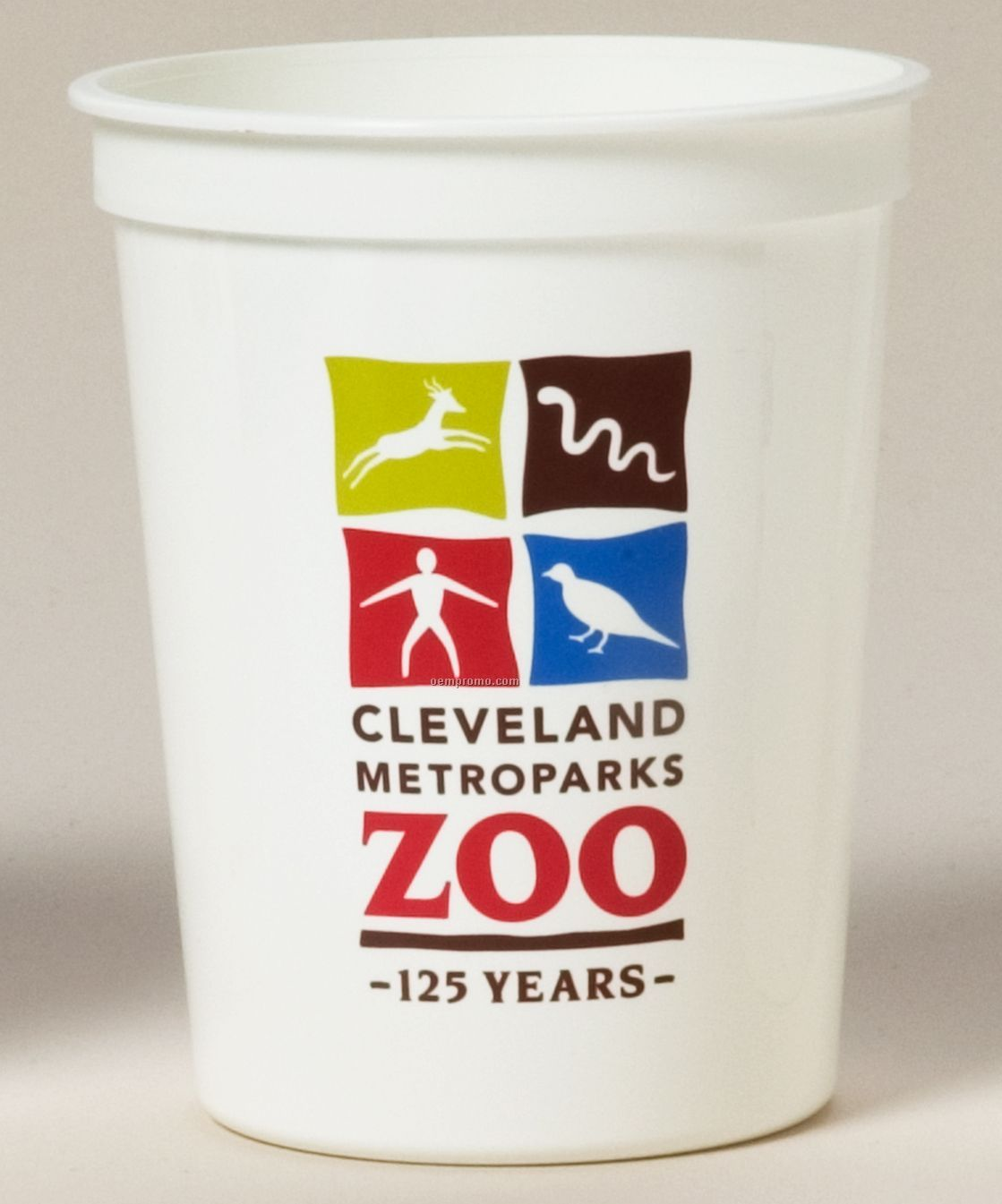 16 Oz. Smooth/Fluted White Stadium Cup (5 Color Offset Imprint)