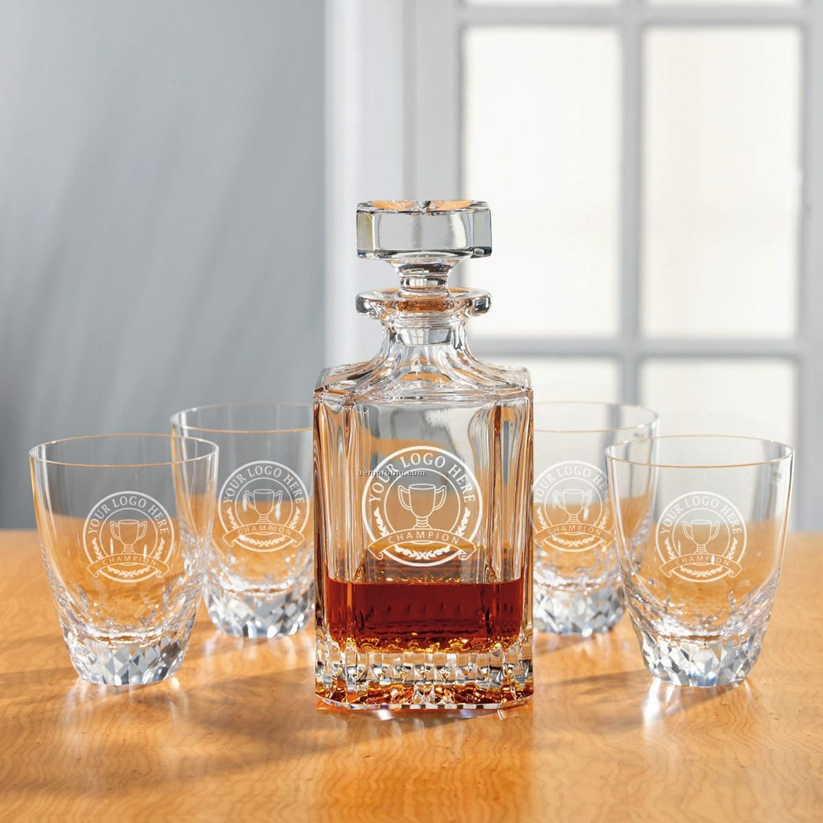 5 Piece Princeton Decanter Set - 1 Decanter & 4 Glasses