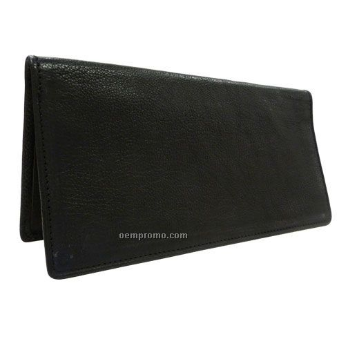 Black North American Cheque Leather Book Cover