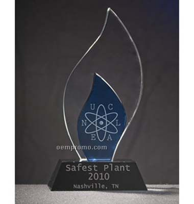2 Tone Royal Blue And Clear Flame Award Crystal (Screen Printed)