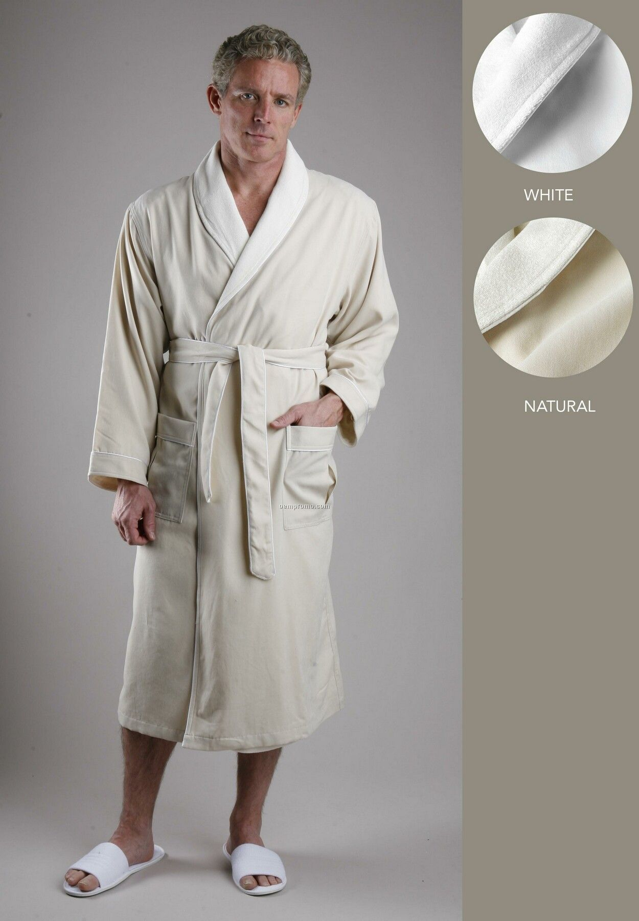 Luxury Microfiber Outside / Poly Knit Inside Robe With Pleated Pocket