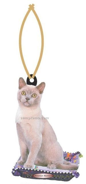 American Burmese Cat Executive Ornament W/ Mirrored Back (8 Square Inch)