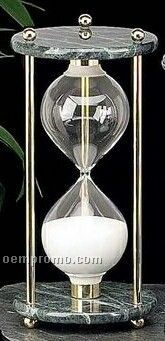 Brass & Green Marble 60 Minutes Sand Timer
