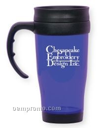 Translucent Blue Travel Mug W/Open Handle (Printed)