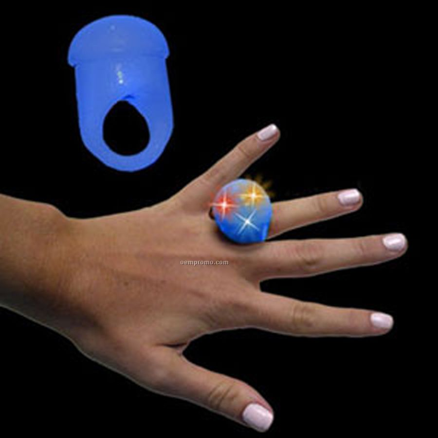 Blue Light Up Jelly Ring With Flashing Leds