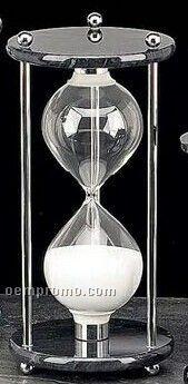 Chrome & Black Marble 60 Minutes Sand Timer