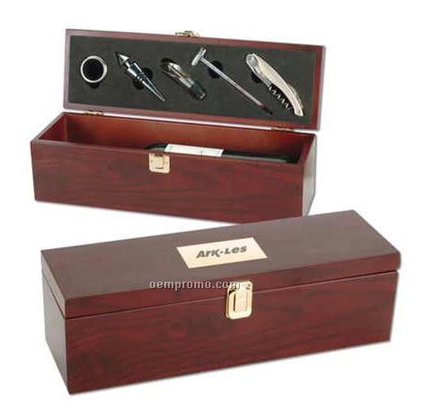 Mahogany Finish Wood Wine Box W/ Stopper/Pourer/Thermometer & Corkscrew