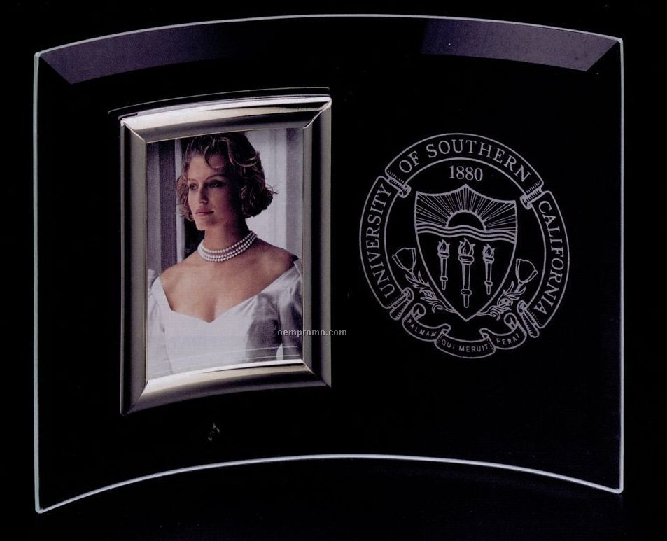 """14""""X9"""" Curved Vertical Crystal Photo Frame"""
