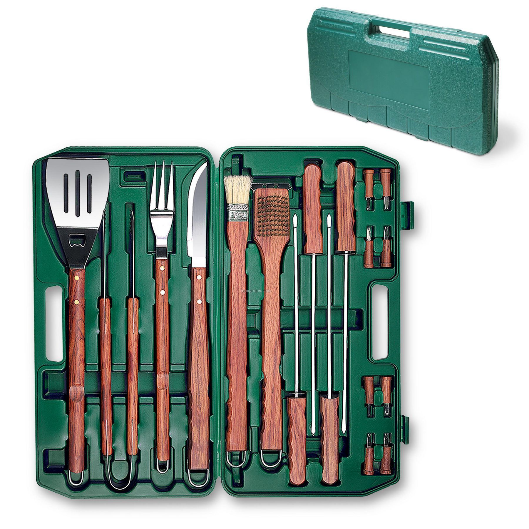 18 Piece Deluxe Bbq Utensil Set W/ Hanging Loops In Green Plastic Case