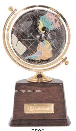 "4"" Dia Globe W/Color Continents & Name Plate (Screened)"