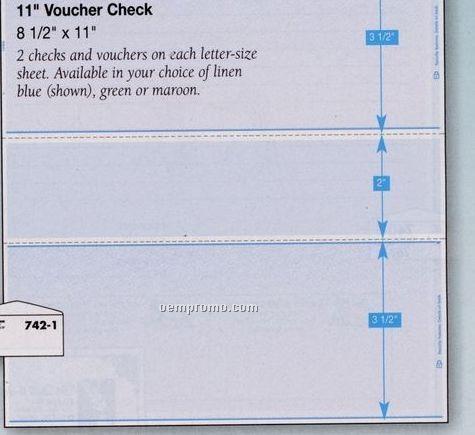 """Blank Laser 11"""" Voucher Check (1 Part)"""