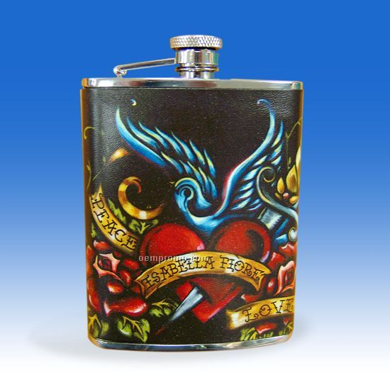 6 Oz. Leather Covered Stainless Steel Flask
