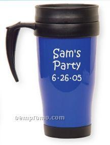 Blue Travel Mug W/Thumb Rest Handle (Printed)