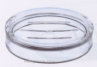 Oval Acrylic Soap Dish W/ Ringed Side