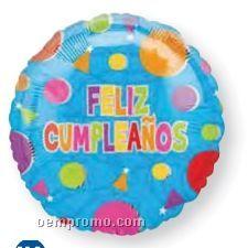 """18"""" Feliz Cumpleanos Confetti One Sided Balloon"""